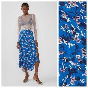 NWT Zara Blue Viscose High Waist Midi Skirt Size M